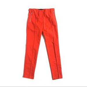 Zara red pants trousers slim skinny ankle career